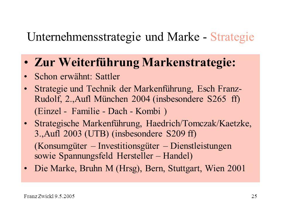 Franz Zwickl 9.5.200525 Unternehmensstrategie und Marke - Strategie Zur Weiterführung Markenstrategie: Schon erwähnt: Sattler Strategie und Technik de