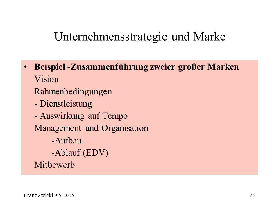 Franz Zwickl 9.5.200526 Unternehmensstrategie und Marke Beispiel -Zusammenführung zweier großer Marken Vision Rahmenbedingungen - Dienstleistung - Aus