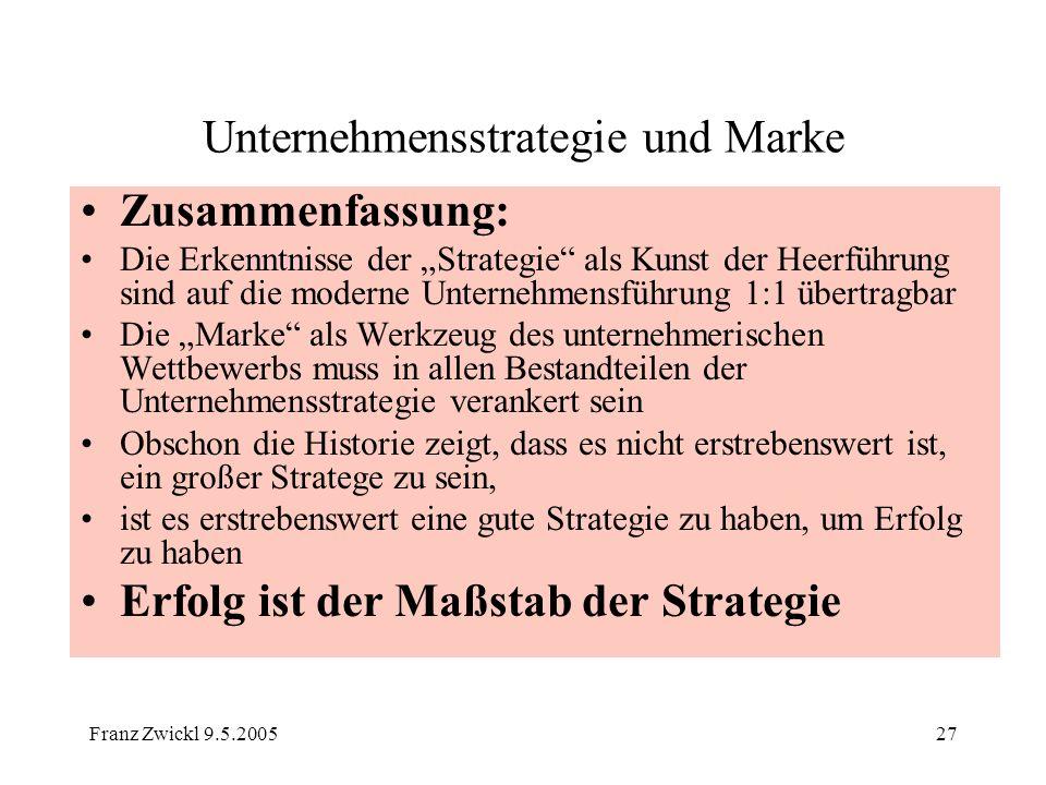 Franz Zwickl 9.5.200527 Unternehmensstrategie und Marke Zusammenfassung: Die Erkenntnisse der Strategie als Kunst der Heerführung sind auf die moderne