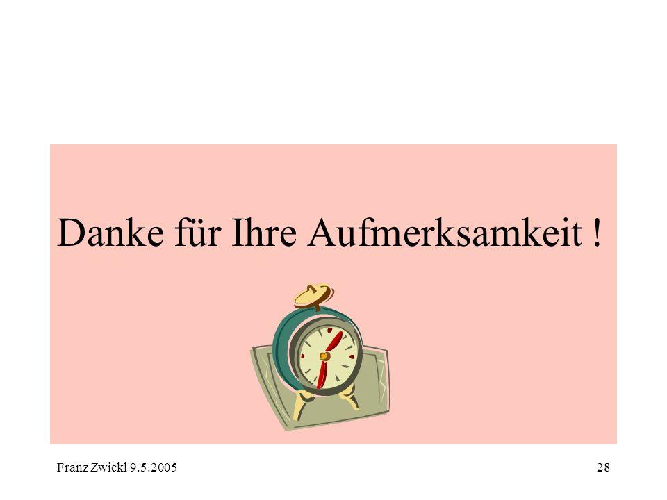 Franz Zwickl 9.5.200528 Danke für Ihre Aufmerksamkeit !