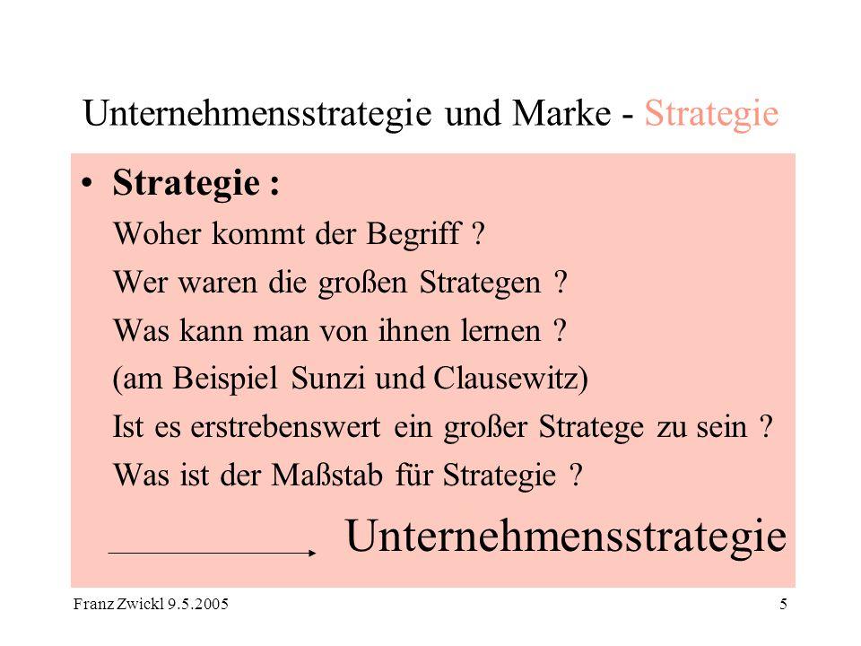 Franz Zwickl 9.5.200526 Unternehmensstrategie und Marke Beispiel -Zusammenführung zweier großer Marken Vision Rahmenbedingungen - Dienstleistung - Auswirkung auf Tempo Management und Organisation -Aufbau -Ablauf (EDV) Mitbewerb