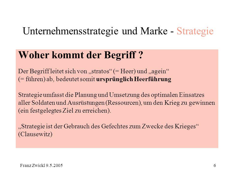 Franz Zwickl 9.5.200527 Unternehmensstrategie und Marke Zusammenfassung: Die Erkenntnisse der Strategie als Kunst der Heerführung sind auf die moderne Unternehmensführung 1:1 übertragbar Die Marke als Werkzeug des unternehmerischen Wettbewerbs muss in allen Bestandteilen der Unternehmensstrategie verankert sein Obschon die Historie zeigt, dass es nicht erstrebenswert ist, ein großer Stratege zu sein, ist es erstrebenswert eine gute Strategie zu haben, um Erfolg zu haben Erfolg ist der Maßstab der Strategie