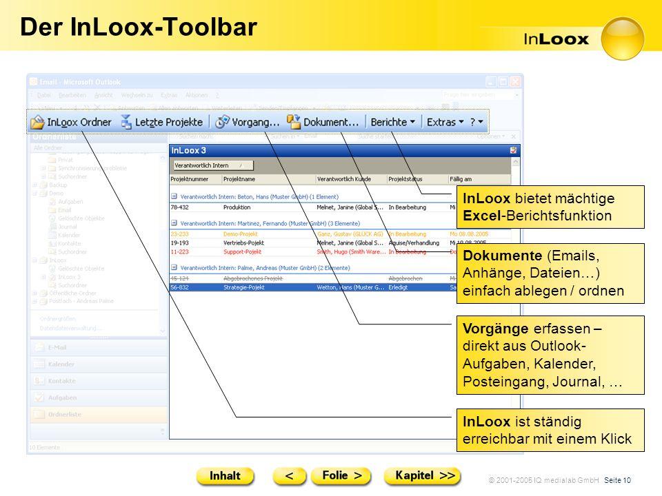 © 2001-2005 IQ medialab GmbH Seite 10 Der InLoox-Toolbar InLoox ist ständig erreichbar mit einem Klick InLoox bietet mächtige Excel-Berichtsfunktion D