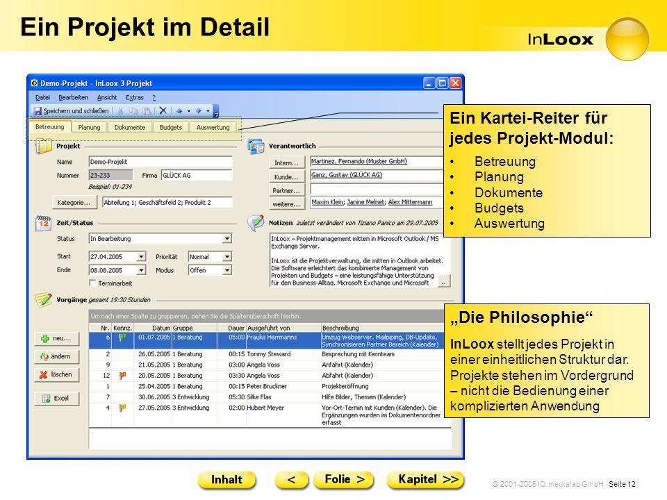 © 2001-2005 IQ medialab GmbH Seite 12 Ein Projekt im Detail Die Philosophie InLoox stellt jedes Projekt in einer einheitlichen Struktur dar. Projekte