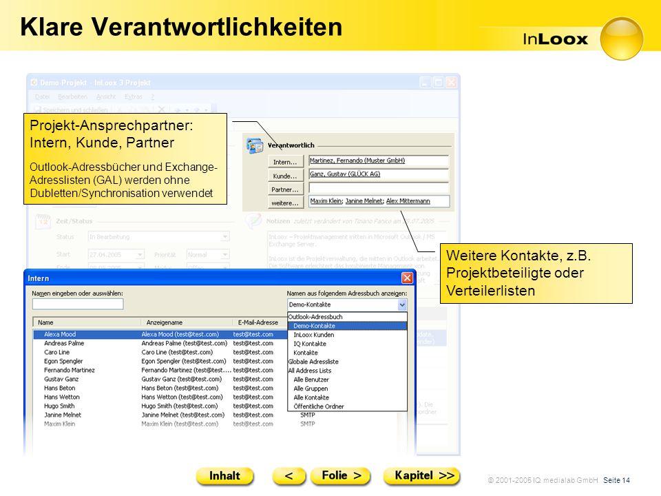 © 2001-2005 IQ medialab GmbH Seite 14 Klare Verantwortlichkeiten Weitere Kontakte, z.B. Projektbeteiligte oder Verteilerlisten Projekt-Ansprechpartner