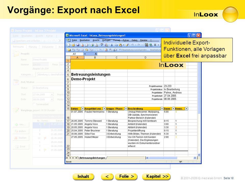 © 2001-2005 IQ medialab GmbH Seite 18 Vorgänge: Export nach Excel Individuelle Export- Funktionen, alle Vorlagen über Excel frei anpassbar