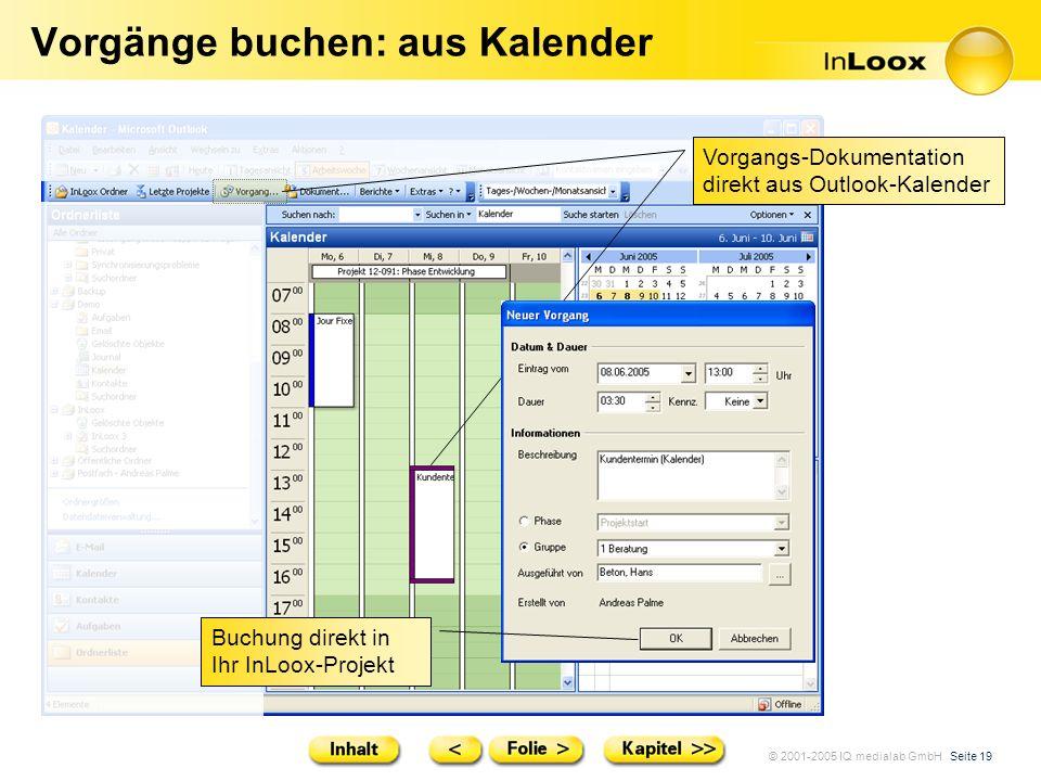 © 2001-2005 IQ medialab GmbH Seite 19 Vorgänge buchen: aus Kalender Vorgangs-Dokumentation direkt aus Outlook-Kalender Buchung direkt in Ihr InLoox-Pr
