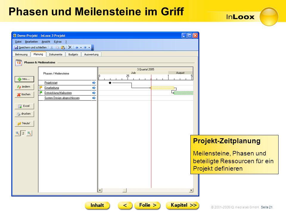 © 2001-2005 IQ medialab GmbH Seite 21 Phasen und Meilensteine im Griff Projekt-Zeitplanung Meilensteine, Phasen und beteiligte Ressourcen für ein Proj