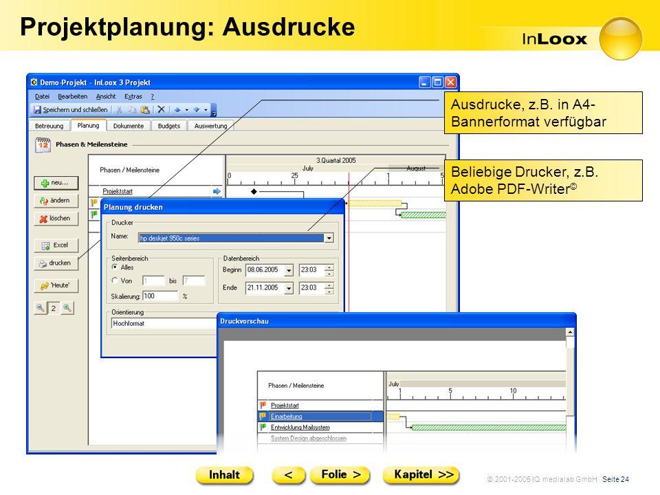 © 2001-2005 IQ medialab GmbH Seite 24 Projektplanung: Ausdrucke Ausdrucke, z.B. in A4- Bannerformat verfügbar Beliebige Drucker, z.B. Adobe PDF-Writer