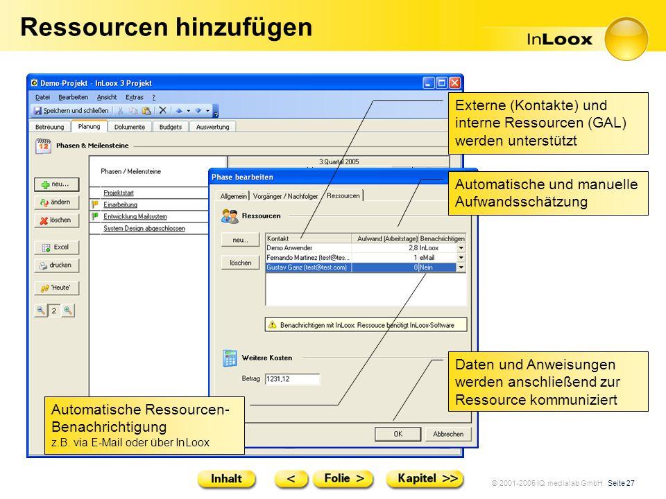 © 2001-2005 IQ medialab GmbH Seite 27 Ressourcen hinzufügen Externe (Kontakte) und interne Ressourcen (GAL) werden unterstützt Automatische und manuel