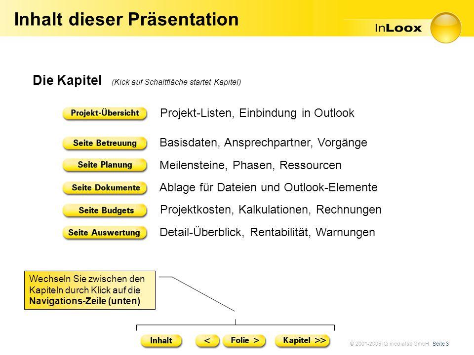 © 2001-2005 IQ medialab GmbH Seite 3 Inhalt dieser Präsentation Die Kapitel (Kick auf Schaltfläche startet Kapitel) Projekt-Listen, Einbindung in Outl