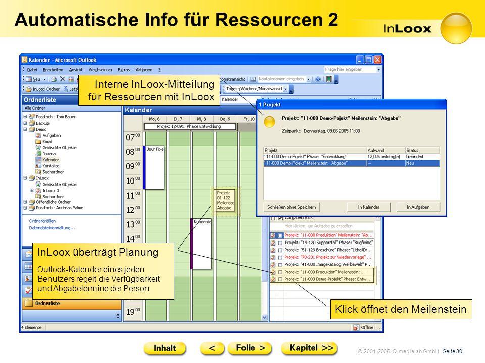 © 2001-2005 IQ medialab GmbH Seite 30 Automatische Info für Ressourcen 2 Interne InLoox-Mitteilung für Ressourcen mit InLoox Klick öffnet den Meilenst