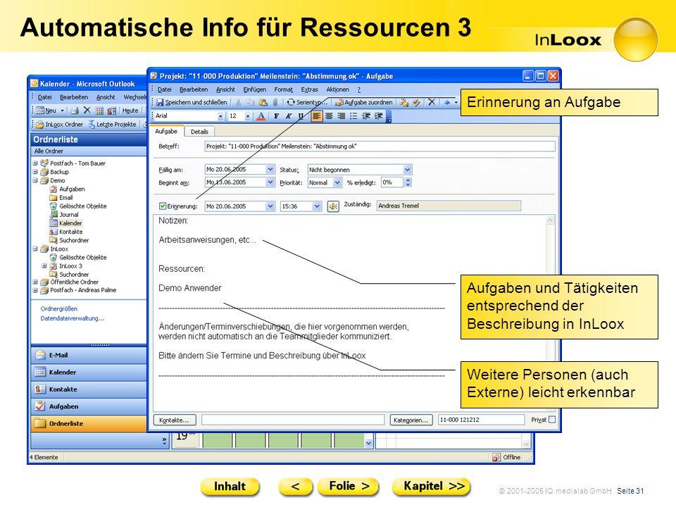 © 2001-2005 IQ medialab GmbH Seite 31 Automatische Info für Ressourcen 3 Aufgaben und Tätigkeiten entsprechend der Beschreibung in InLoox Weitere Pers