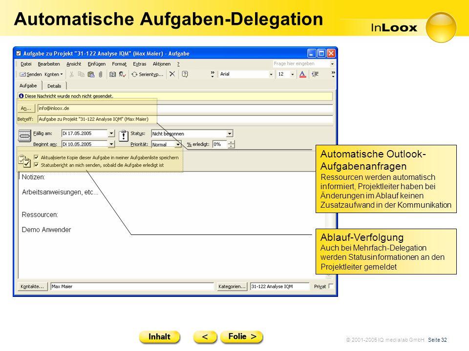 © 2001-2005 IQ medialab GmbH Seite 32 Automatische Aufgaben-Delegation Automatische Outlook- Aufgabenanfragen Ressourcen werden automatisch informiert