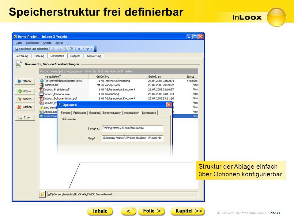 © 2001-2005 IQ medialab GmbH Seite 41 Speicherstruktur frei definierbar Struktur der Ablage einfach über Optionen konfigurierbar