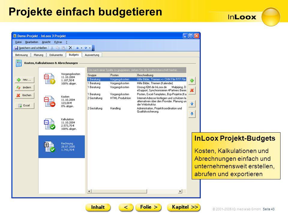 © 2001-2005 IQ medialab GmbH Seite 43 Projekte einfach budgetieren InLoox Projekt-Budgets Kosten, Kalkulationen und Abrechnungen einfach und unternehm