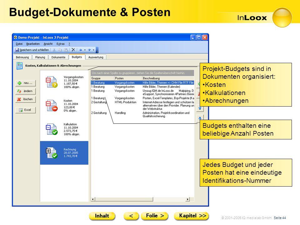 © 2001-2005 IQ medialab GmbH Seite 44 Budget-Dokumente & Posten Projekt-Budgets sind in Dokumenten organisiert: Kosten Kalkulationen Abrechnungen Budg