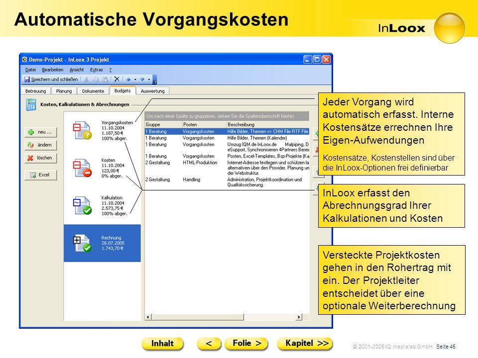 © 2001-2005 IQ medialab GmbH Seite 45 Automatische Vorgangskosten Jeder Vorgang wird automatisch erfasst. Interne Kostensätze errechnen Ihre Eigen-Auf