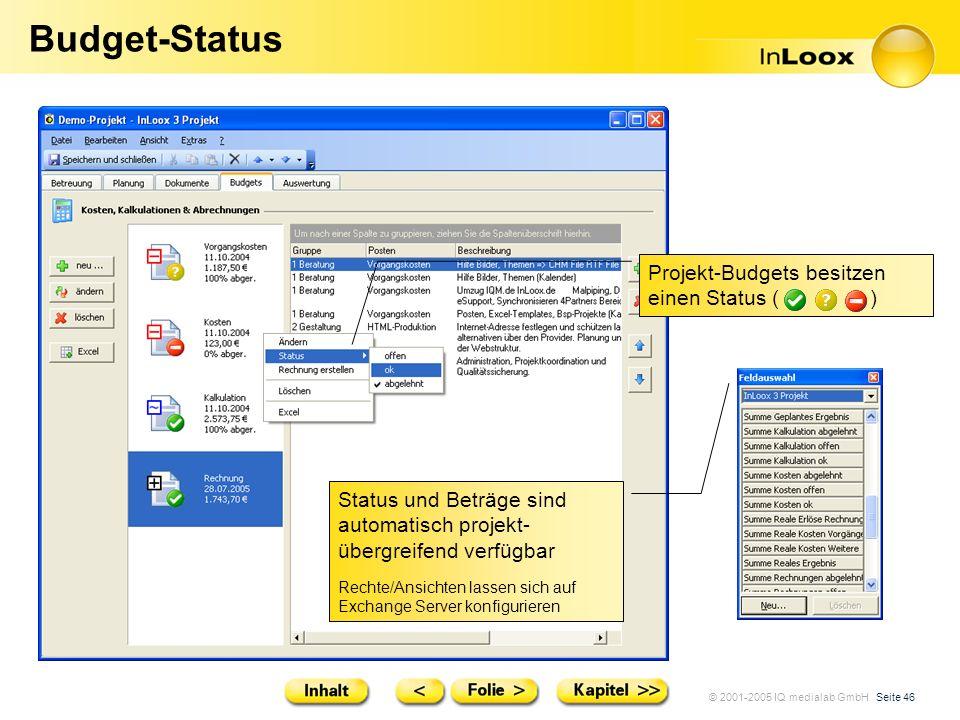 © 2001-2005 IQ medialab GmbH Seite 46 Budget-Status Projekt-Budgets besitzen einen Status ( ) Status und Beträge sind automatisch projekt- übergreifen