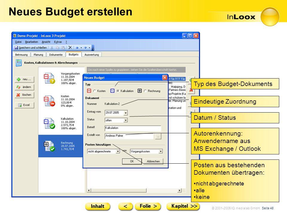 © 2001-2005 IQ medialab GmbH Seite 48 Neues Budget erstellen Typ des Budget-Dokuments Eindeutige Zuordnung Datum / Status Posten aus bestehenden Dokum