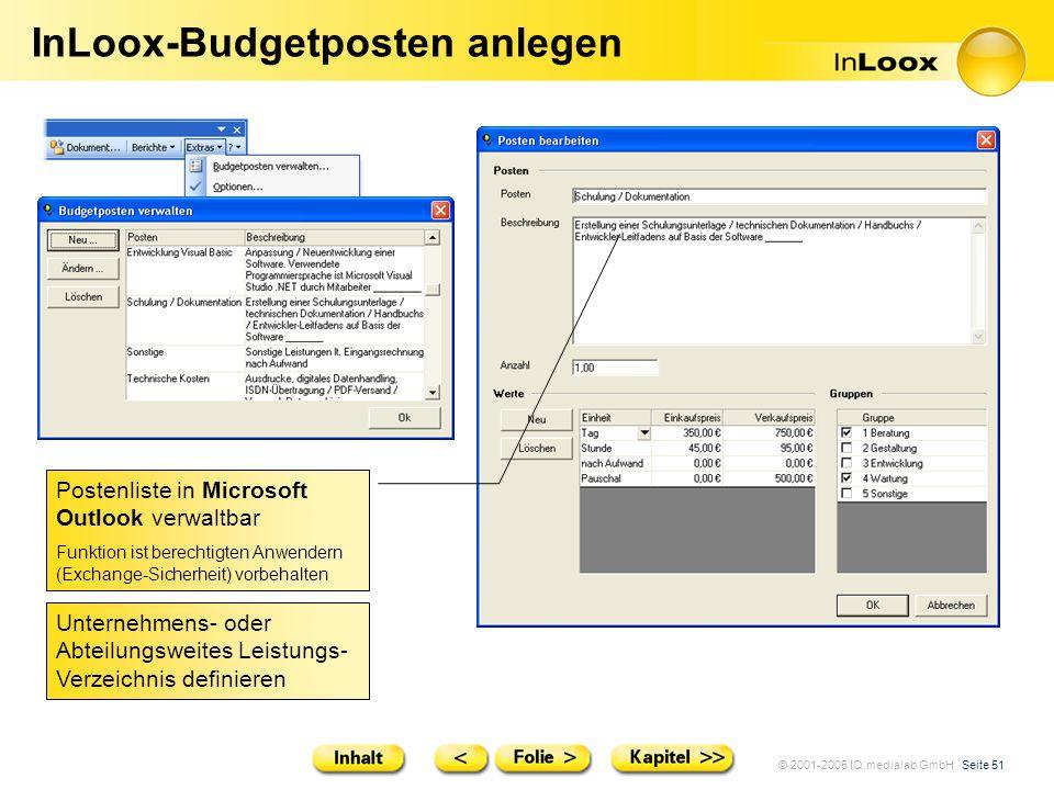 © 2001-2005 IQ medialab GmbH Seite 51 InLoox-Budgetposten anlegen Postenliste in Microsoft Outlook verwaltbar Funktion ist berechtigten Anwendern (Exc