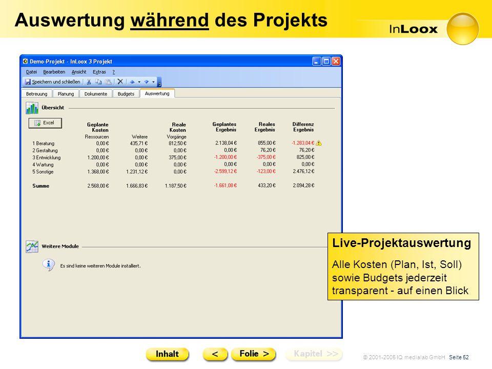 © 2001-2005 IQ medialab GmbH Seite 52 Auswertung während des Projekts Live-Projektauswertung Alle Kosten (Plan, Ist, Soll) sowie Budgets jederzeit tra
