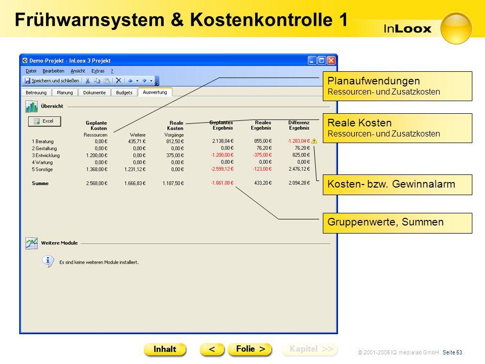 © 2001-2005 IQ medialab GmbH Seite 53 Frühwarnsystem & Kostenkontrolle 1 Gruppenwerte, Summen Planaufwendungen Ressourcen- und Zusatzkosten Reale Kost