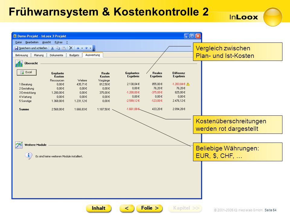 © 2001-2005 IQ medialab GmbH Seite 54 Frühwarnsystem & Kostenkontrolle 2 Vergleich zwischen Plan- und Ist-Kosten Beliebige Währungen: EUR, $, CHF, … K