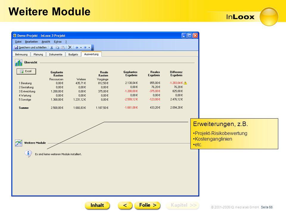 © 2001-2005 IQ medialab GmbH Seite 56 Weitere Module Erweiterungen, z.B. Projekt-Risikobewertung Kostenganglinien etc.