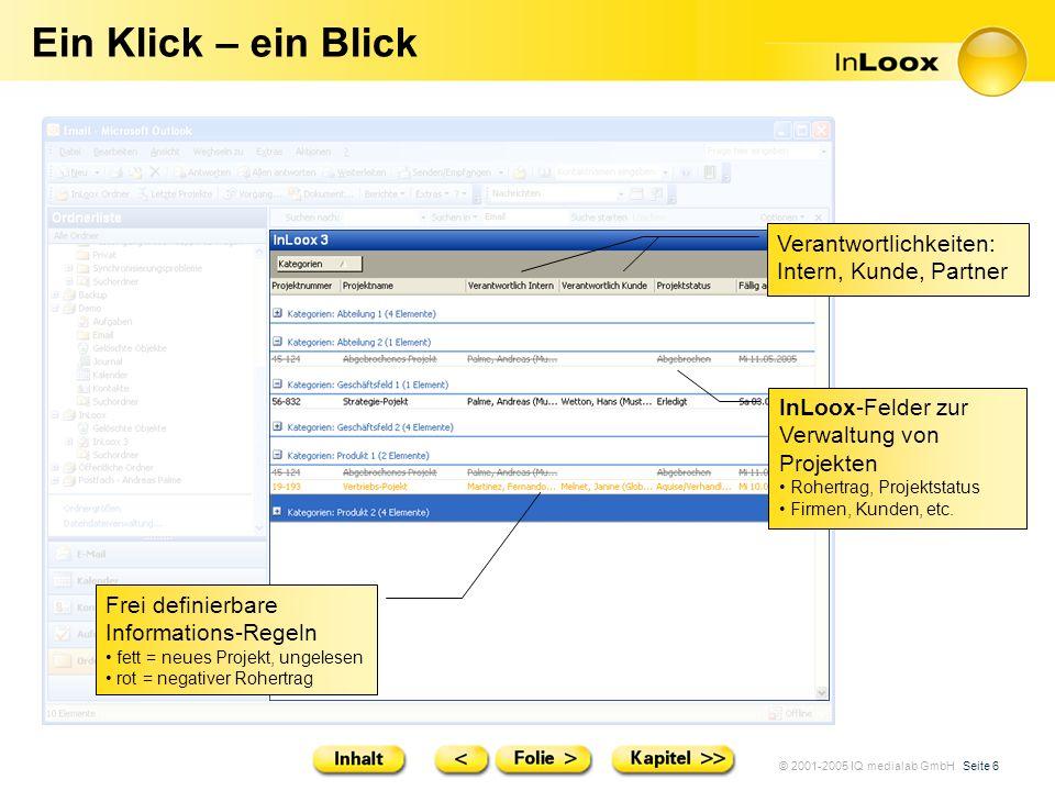 © 2001-2005 IQ medialab GmbH Seite 6 Ein Klick – ein Blick Verantwortlichkeiten: Intern, Kunde, Partner Frei definierbare Informations-Regeln fett = n