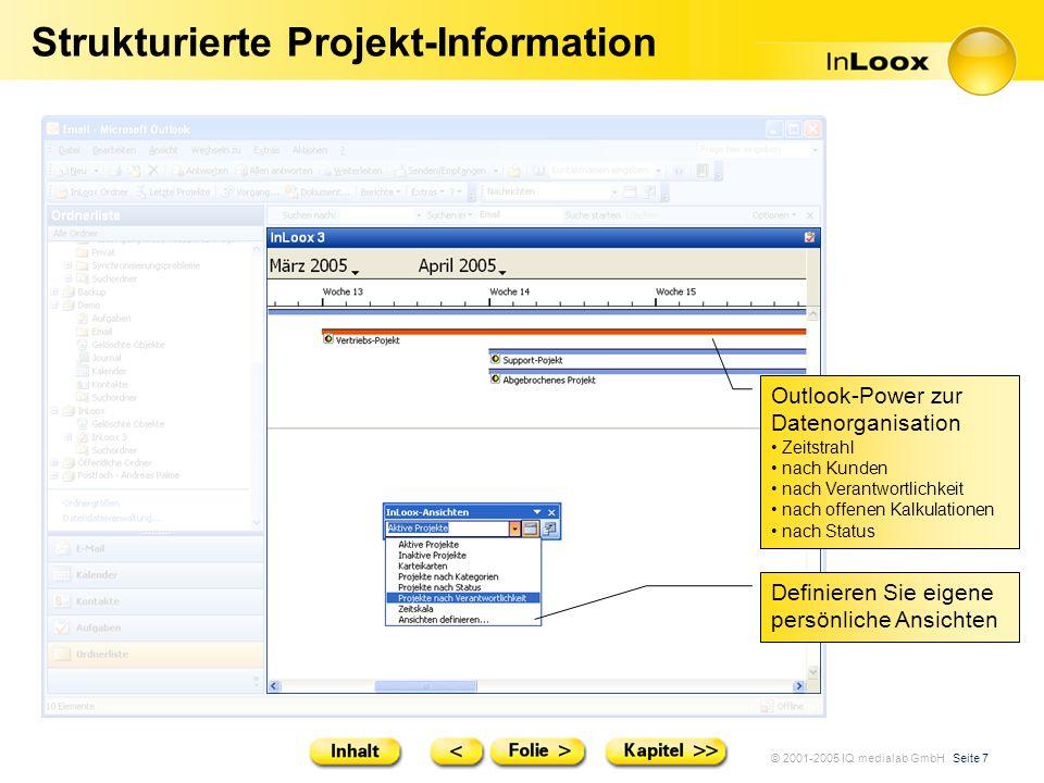 © 2001-2005 IQ medialab GmbH Seite 7 Strukturierte Projekt-Information Outlook-Power zur Datenorganisation Zeitstrahl nach Kunden nach Verantwortlichk