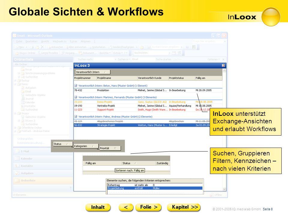 © 2001-2005 IQ medialab GmbH Seite 8 Globale Sichten & Workflows Suchen, Gruppieren Filtern, Kennzeichen – nach vielen Kriterien InLoox unterstützt Ex
