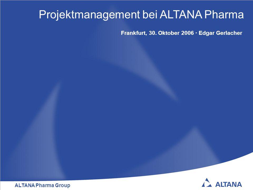 ALTANA Pharma Group 32 Zusammenfassung Die Medikamentenentwicklung bei ALTANA Pharma wird durch definierte und verbesserte Prozesse, Methoden und Werkzeuge in einer weit strukturierteren Form durchgeführt Projektrelevante Entscheidungen erfolgen schneller durch ein entsprechend ermächtigtes, cross-funktionales und cross- geographisches Komitee Leistungsfähigere Core Project Teams durch reduzierte Größe Verbesserte PM-Fähigkeiten der Projektleiter und Team-Mitglieder durch konsequente Aus- und Weiterbildung Sprechen der gleichen Sprache durch Verbindliche Definitionen (Drug Development Process Guide) … und dem ständigen Predigen des Inhalts des Drug Development Process Guide (durch das PMO in Core Project Team Meetings und bei anderen Gelegenheiten wie z.B.
