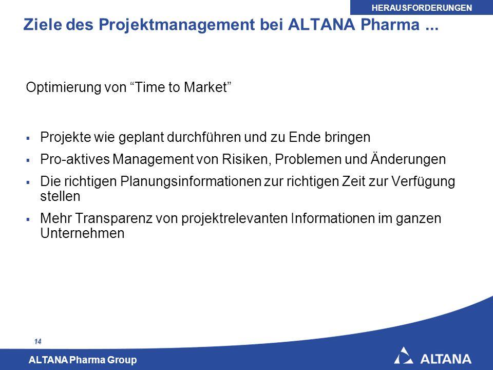 ALTANA Pharma Group 14 Ziele des Projektmanagement bei ALTANA Pharma... Optimierung von Time to Market Projekte wie geplant durchführen und zu Ende br