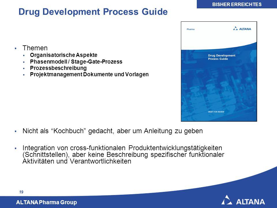 ALTANA Pharma Group 19 Drug Development Process Guide Themen Organisatorische Aspekte Phasenmodell / Stage-Gate-Prozess Prozessbeschreibung Projektman