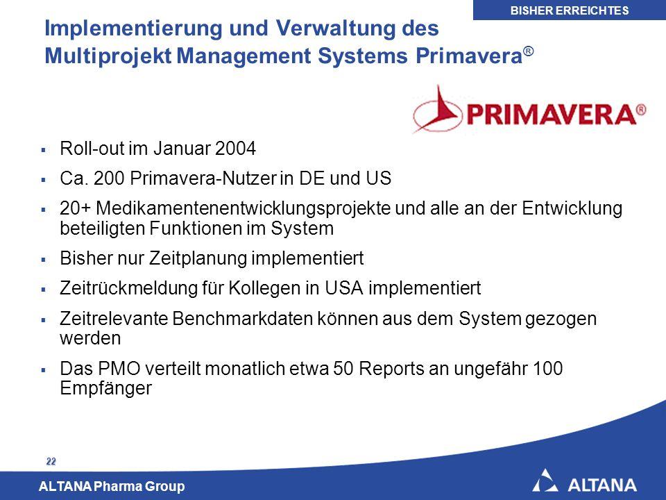 ALTANA Pharma Group 22 Implementierung und Verwaltung des Multiprojekt Management Systems Primavera ® Roll-out im Januar 2004 Ca. 200 Primavera-Nutzer