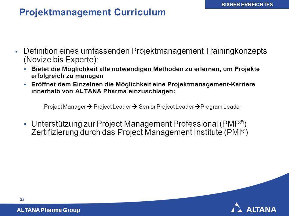 ALTANA Pharma Group 23 Projektmanagement Curriculum Definition eines umfassenden Projektmanagement Trainingkonzepts (Novize bis Experte): Bietet die M
