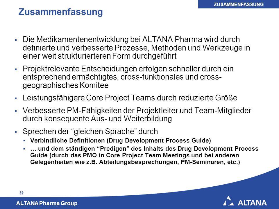 ALTANA Pharma Group 32 Zusammenfassung Die Medikamentenentwicklung bei ALTANA Pharma wird durch definierte und verbesserte Prozesse, Methoden und Werk