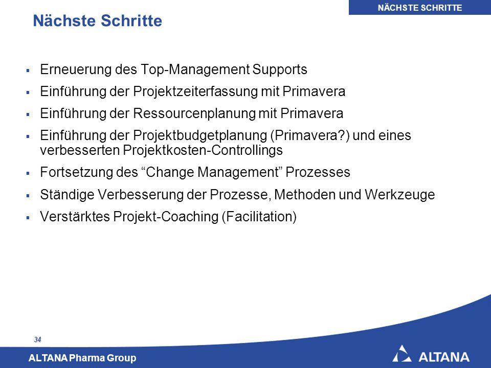 ALTANA Pharma Group 34 Nächste Schritte Erneuerung des Top-Management Supports Einführung der Projektzeiterfassung mit Primavera Einführung der Ressou