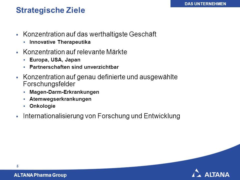 ALTANA Pharma Group 6 Geschäftszahlen ALTANA Pharma 2005 * Nach Anpassung durch IFRS 2 (Anteilsbasierte Vergütungen) DAS UNTERNEHMEN
