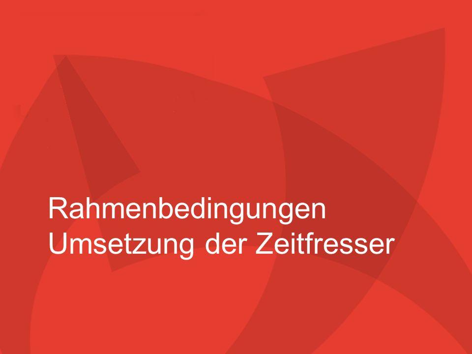 Zeitfresser 1. September 2005 10/29.03.2014 Rahmenbedingungen Umsetzung der Zeitfresser