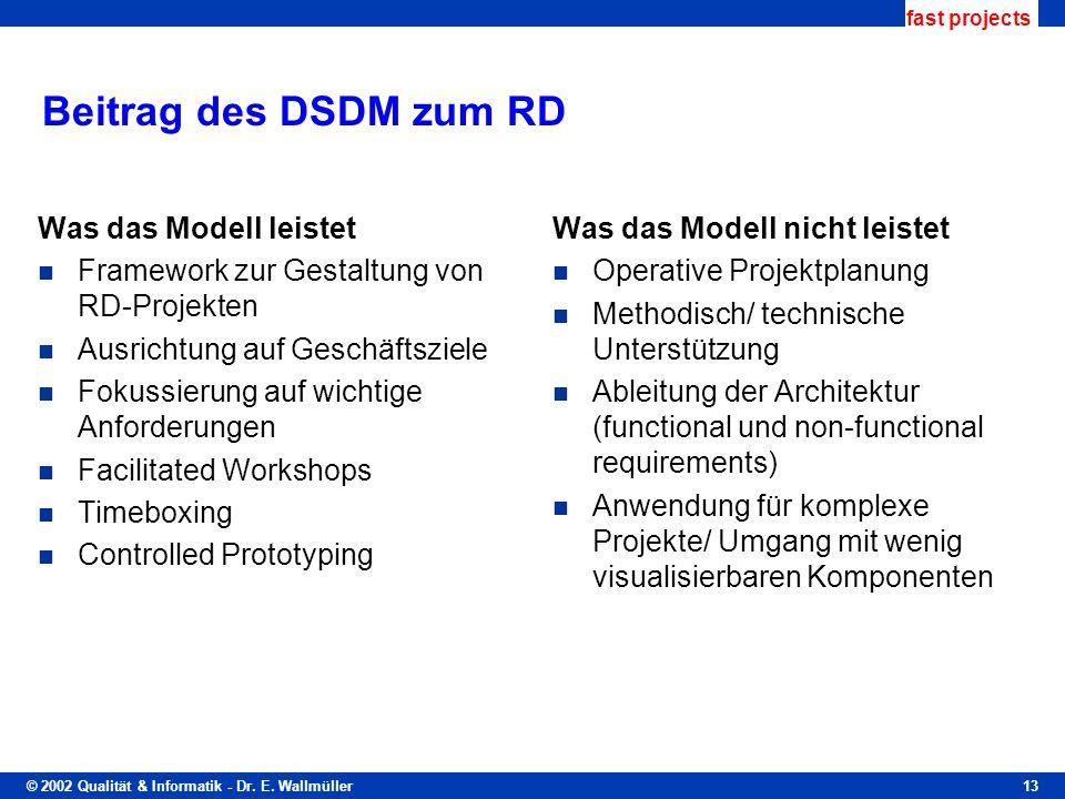 © 2002 Qualität & Informatik - Dr. E. Wallmüller fast projects 13 Beitrag des DSDM zum RD Was das Modell leistet Framework zur Gestaltung von RD-Proje