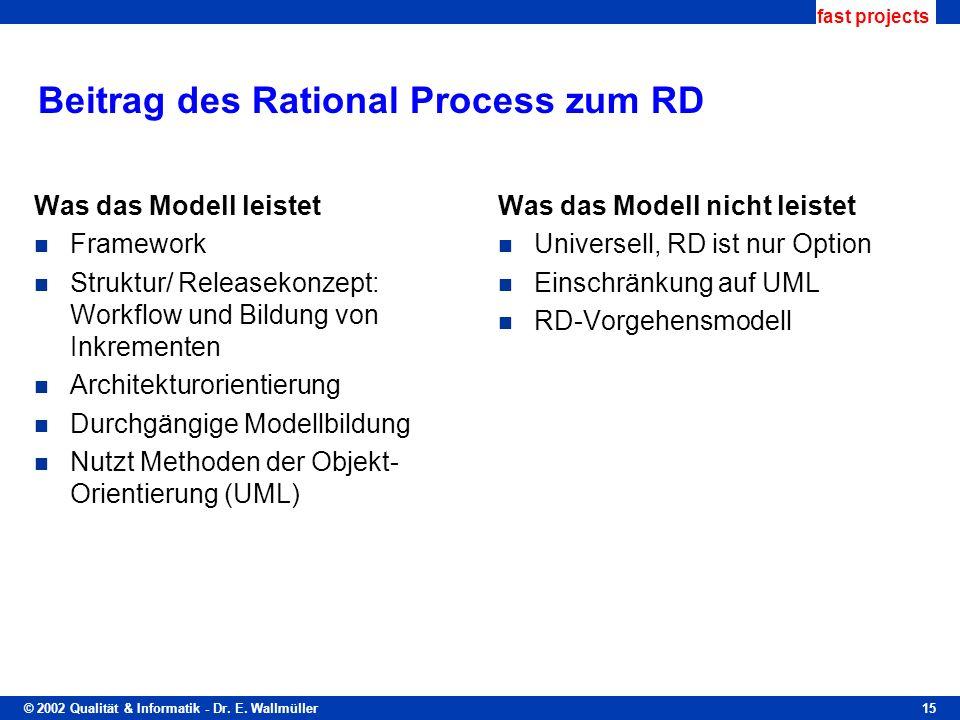 © 2002 Qualität & Informatik - Dr. E. Wallmüller fast projects 15 Beitrag des Rational Process zum RD Was das Modell leistet Framework Struktur/ Relea