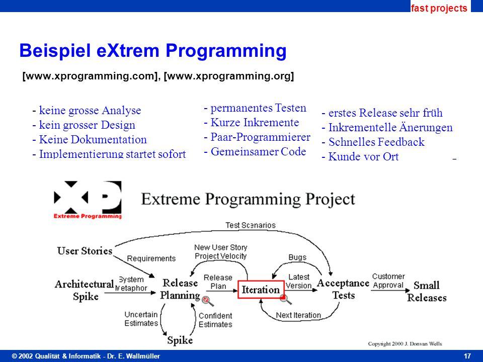 © 2002 Qualität & Informatik - Dr. E. Wallmüller fast projects 17 Beispiel eXtrem Programming [www.xprogramming.com], [www.xprogramming.org] - keine g