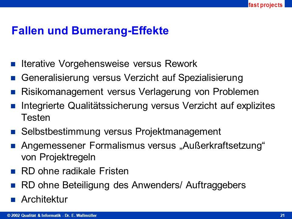 © 2002 Qualität & Informatik - Dr. E. Wallmüller fast projects 21 Fallen und Bumerang-Effekte Iterative Vorgehensweise versus Rework Generalisierung v