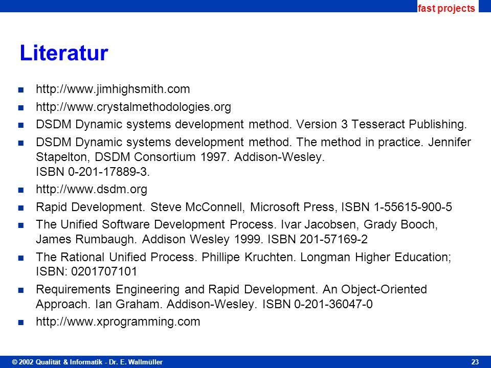 © 2002 Qualität & Informatik - Dr. E. Wallmüller fast projects 23 Literatur http://www.jimhighsmith.com http://www.crystalmethodologies.org DSDM Dynam