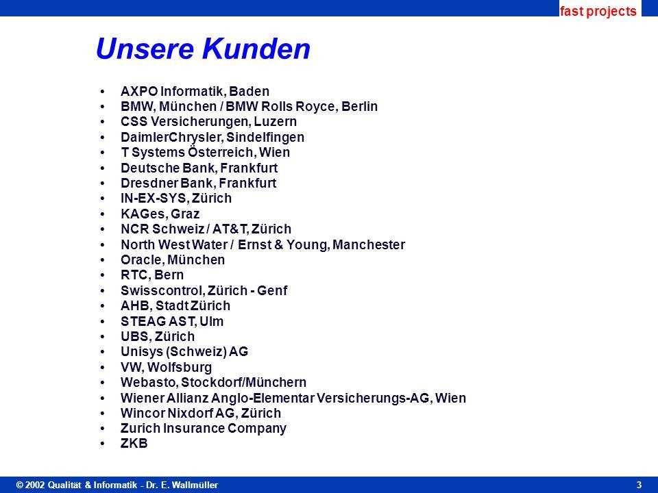 © 2002 Qualität & Informatik - Dr. E. Wallmüller fast projects 3 Unsere Kunden AXPO Informatik, Baden BMW, München / BMW Rolls Royce, Berlin CSS Versi