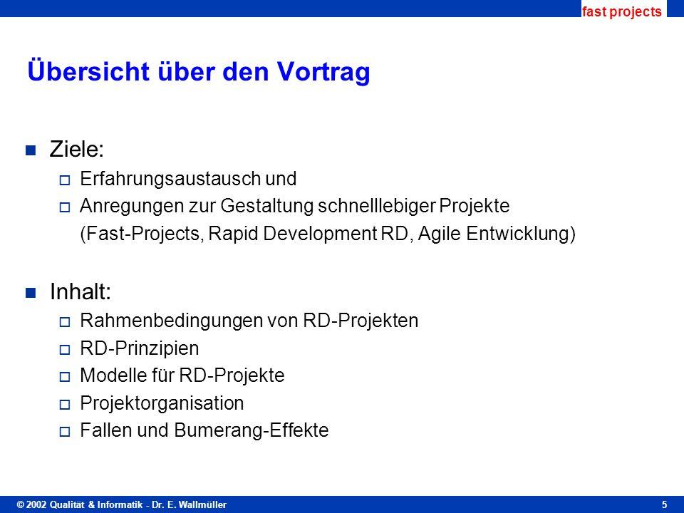 © 2002 Qualität & Informatik - Dr. E. Wallmüller fast projects 5 Übersicht über den Vortrag Ziele: Erfahrungsaustausch und Anregungen zur Gestaltung s