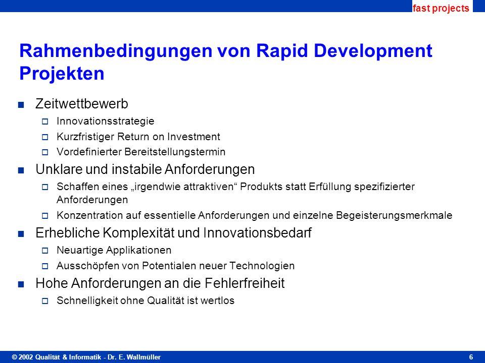 © 2002 Qualität & Informatik - Dr. E. Wallmüller fast projects 6 Rahmenbedingungen von Rapid Development Projekten Zeitwettbewerb Innovationsstrategie