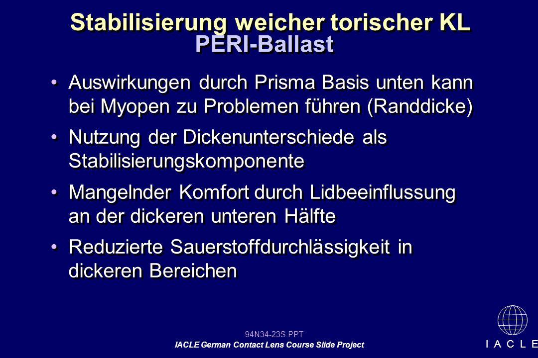 94N34-23S.PPT IACLE German Contact Lens Course Slide Project I A C L E Stabilisierung weicher torischer KL Auswirkungen durch Prisma Basis unten kann bei Myopen zu Problemen führen (Randdicke) Nutzung der Dickenunterschiede als Stabilisierungskomponente Mangelnder Komfort durch Lidbeeinflussung an der dickeren unteren Hälfte Reduzierte Sauerstoffdurchlässigkeit in dickeren Bereichen Auswirkungen durch Prisma Basis unten kann bei Myopen zu Problemen führen (Randdicke) Nutzung der Dickenunterschiede als Stabilisierungskomponente Mangelnder Komfort durch Lidbeeinflussung an der dickeren unteren Hälfte Reduzierte Sauerstoffdurchlässigkeit in dickeren Bereichen PERI-Ballast